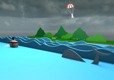 3d cartoon landscape with stormy weather Stock Images