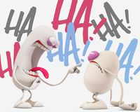 3d cartoon laughing at another one Stock Photo