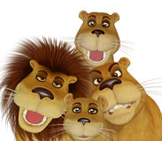 3d cartoon lion family. Isolated on the white background stock illustration