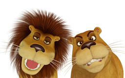 3d cartoon lion family Stock Photos