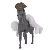 3D cartoon male figure passed out on his horse. As it gallops and wears cowboy hat Royalty Free Stock Photo