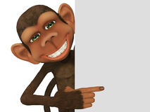 3d cartoon monkey with a blank Stock Photo