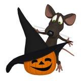 3d cartoon mouse with a halloween pumpkin Stock Photo