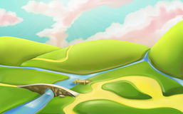 3d cartoon nature landscape with bridge Royalty Free Stock Photo