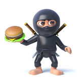 3d Cartoon ninja assassin character holding a beef burger snack Royalty Free Stock Photography