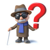 3d Cartoon old blind man character has a question mark symbol Royalty Free Stock Photos