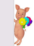 3d cartoon pig with a blank board and flowers Stock Image