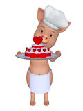 3d cartoon pig with a lovely cake. 3d illustration isolated on the white background Royalty Free Stock Photo