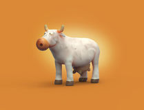3D cartoon plasticine white cow character Stock Photography