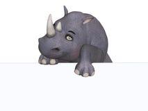 3d cartoon rhino with a blank board Royalty Free Stock Image