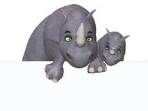 3d cartoon rhino und rhino baby with a blank board Stock Images