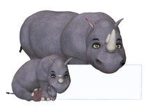 3d cartoon rhino und rhino baby with a blank board Stock Photos