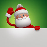 3d cartoon Santa Claus holding blank page. Christmas banner template, Santa Claus character holding blank page, place for adding text Stock Image