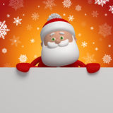 3d cartoon Santa Claus holding blank page. Christmas banner template, Santa Claus character holding blank page, place for adding text Royalty Free Stock Photography