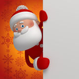 3d cartoon Santa Claus holding blank page. Christmas banner template, Santa Claus character holding blank page, place for adding text Royalty Free Stock Photos