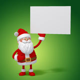 3d cartoon Santa Claus holding white card Stock Image