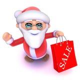 3d Cartoon Santa has been to the Christmas sales. 3d render of a cartoon Santa who has been to the Christmas sales Stock Photos