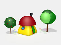 3d cartoon small house. 3d rendered cartoon colorful small house with trees and flowers Royalty Free Stock Images