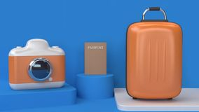 3d cartoon style abstract blue scene camera bag-luggage passport 3d render going travel transportation concept royalty free illustration