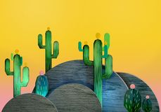 3d rendering of cartoon stylized mexican cactuses. 3d cartoon stylized decorations. Mexican theme.  Flat hills with cactuses . Wooden theatrical scenery style Stock Photography