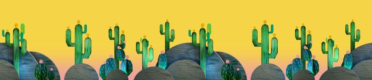 3d rendering of cartoon stylized mexican theme with cactuses. Seamless pattern stock illustration