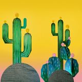3d rendering of cartoon stylized mexican cactuses. 3d cartoon stylized decorations. Mexican theme.  Flat hills with cactuses . Wooden theatrical scenery style Stock Image