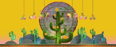 3d rendering of cartoon stylized mexican cactuses. 3d cartoon stylized decorations. Mexican theme. Large 3d cactus in the middle and flat hills on the sides and Stock Images