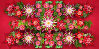 3d rendering of cartoon stylized lotus flowers on water. 3d cartoon stylized lotus flowers. Bright blossoms with green foliage on red background. Row plant Royalty Free Stock Photo