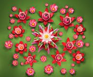 3d cartoon stylized lotus flowers. Bright pink blossoms on green background Stock Photos
