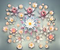 3d rendering of cartoon stylized lotus flowers on water. 3d cartoon stylized lotus flowers on water.  Slightly pink blossoms on pale blue background. Pastel Royalty Free Stock Photos
