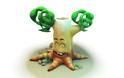 3d cartoon tree on  background for eco Royalty Free Stock Image