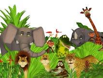 3d cartoon wild jungle animals Stock Photography