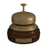 3D cartoon wooden and metallic reception bell. 3D render of a cartoon wooden and metallic reception bell Royalty Free Stock Photography