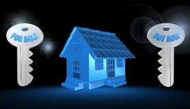 3d casa, illustrazione Fotografie Stock Libere da Diritti