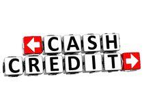 3D Cash Credit Button Click Here Block Text. Over white background Royalty Free Stock Photos