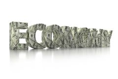 3D CASH word. 3D rendering of ECONOMY word wrapped around with 100 USD banknotes over white background Stock Images