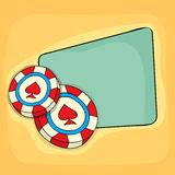 3D casino chip with blank frame for message. Royalty Free Stock Photo