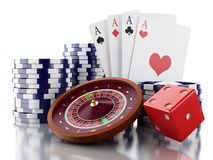 3d Casino roulette wheel with chips, poker cards and dice. Royalty Free Stock Image