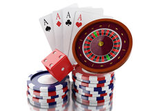 3d Casino roulette wheel with chips, poker cards and dice. Royalty Free Stock Images