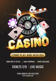3D Casino text with roulette wheel, casino chips and playing card. 3D Casino text with roulette wheel, casino chips and playing card on black background for stock illustration