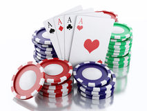 3d casino tokens and playing cards. Isolated white background Stock Images