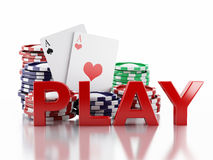 3d casino tokens and playing cards. Isolated white background Royalty Free Stock Image
