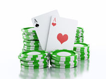 3d casino tokens and playing cards. Isolated white background Royalty Free Stock Photography