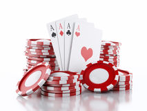 3d casino tokens and playing cards. Isolated white background Stock Image