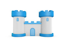 3d castle. 3d blue white fairy tale castle stand on white background Royalty Free Stock Images