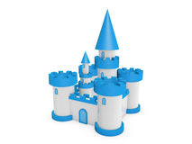 3d castle. 3d blue white fairy tale castle stand on white background Royalty Free Stock Photography