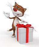 3d cat with a gift. Royalty Free Stock Photo