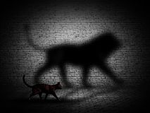 3D cat walking with lion shaped shadow against a brick wall. 3D render of a cat walking with lion shaped shadow against a brick wall Vector Illustration