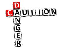 3D Caution Danger Crossword on white background.  Stock Images