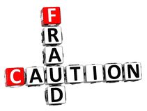 3D Caution Fraud Crossword on white background Royalty Free Stock Photos